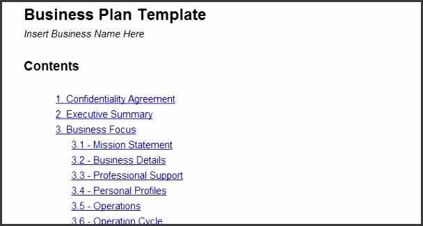Business Plan Template Word Free Design