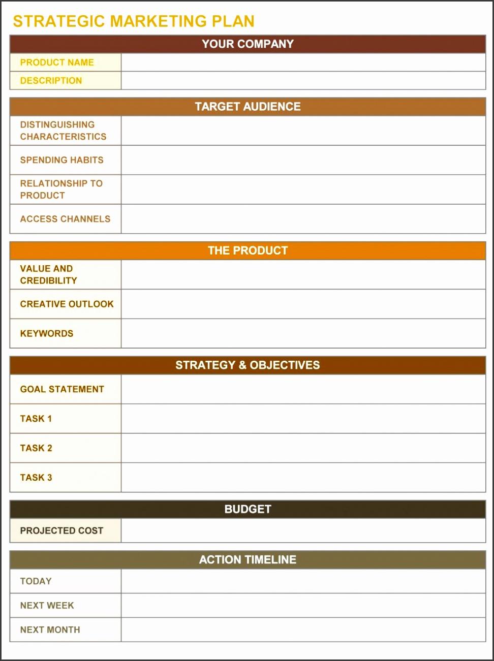 Free Strategic Planning Templates Smartsheet Marketing Plan Business Plan Departmental Template Sample