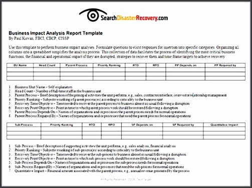 Business Impact Analysis Template Impact Analysis Report Mobile