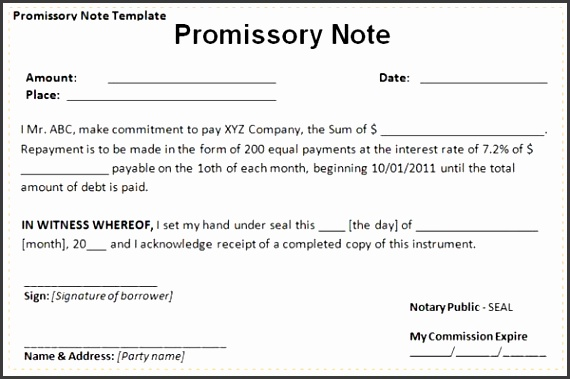 Sample Promissory Note Template