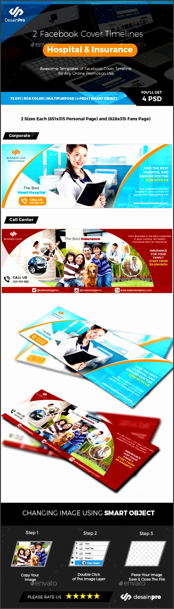 2 Cover Hospital Doctor and Insurance Medical Timeline Covers Social Media