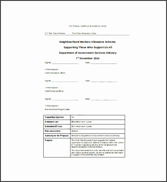 First Pass Business Case Word Template Free Download