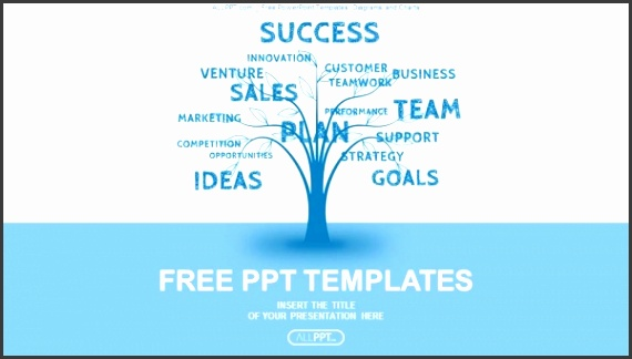 Concept blue word tree leadership marketing or business PowerPoint Templates