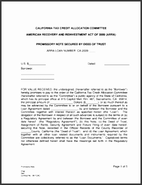 secured promissory note california template Promissory Note Secured by Deed of Trust