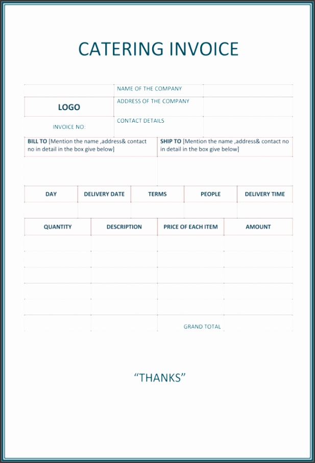 5 Best Catering Invoice Templates For Decorative Business Free Catering Invoice Template