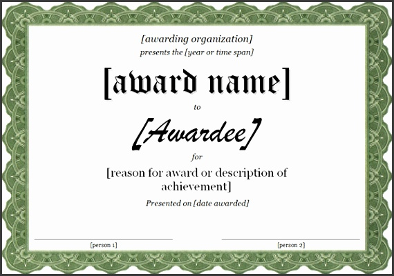 7 template for certificate of award