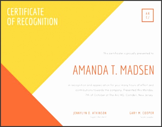 Modern Yellow Orange Geometric Recognition Award