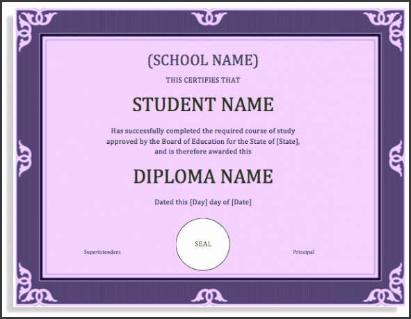 School Degree Certificate Template