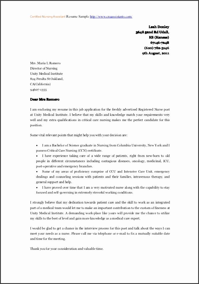 certified nursingassistant cna cover letters cover letter templates