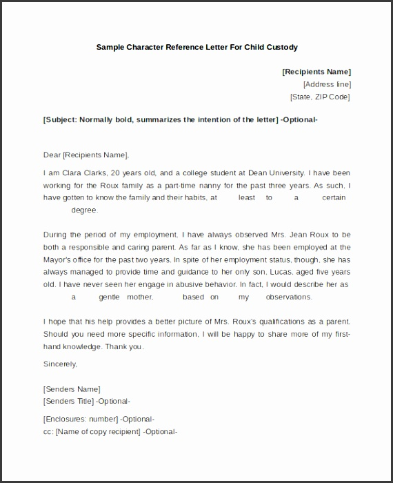 Sample Character Reference Letter for Child Custody