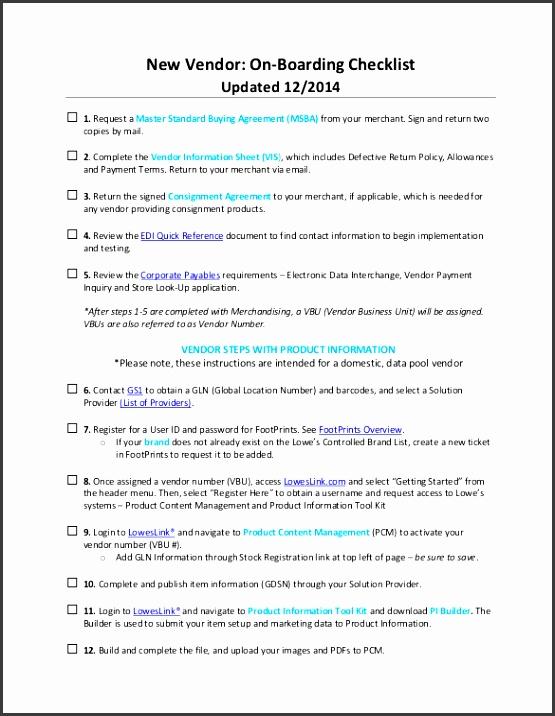 boarding Checklist Template