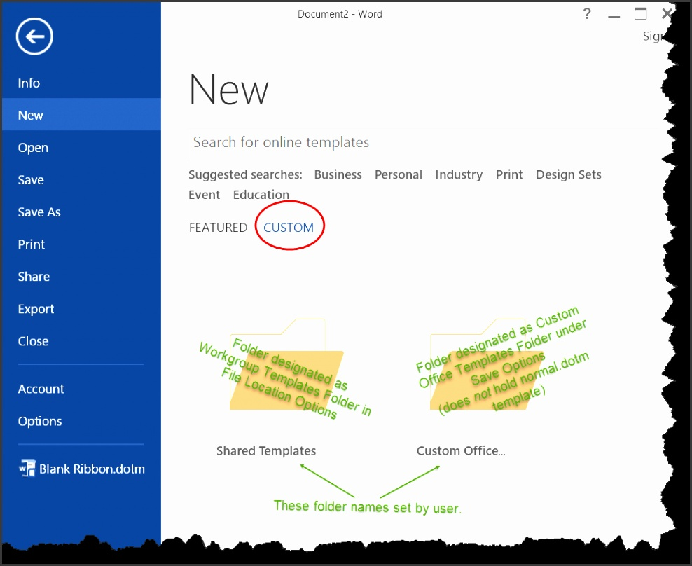Word 2013 2016 New Templates Dialog