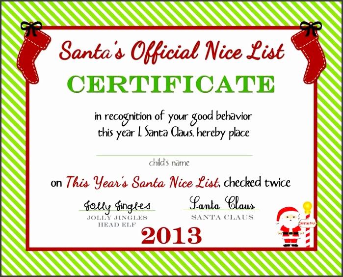 Santau0027s ficial Nice List Certificate Free Printable by free printable blank t certificates