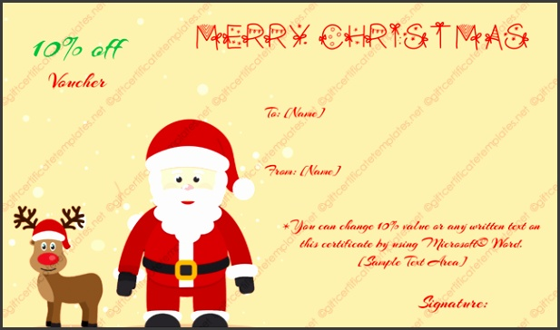 Santa and Randeer Gift Certificate Template word