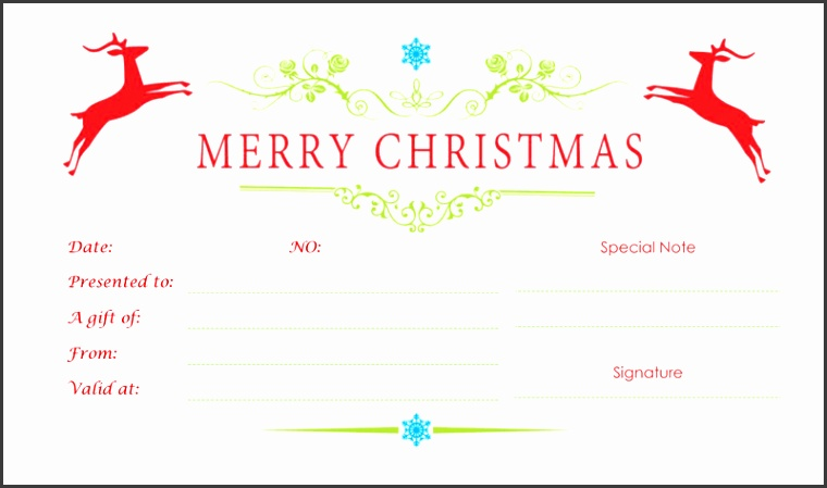 Double Reindeer Christmas Gift Certificate Template