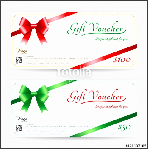 Christmas t card or t voucher template with shiny red and green bows with ribbon vector