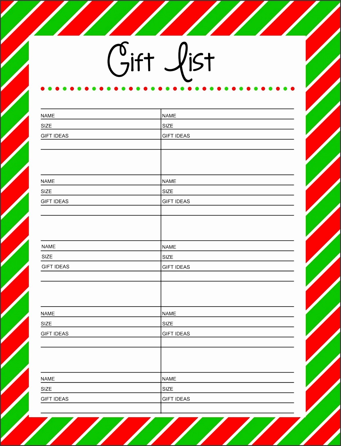 Free Printable Christmas Gift List Template – Printable Template 2017 with Christmas Gift Exchange Wish List Template 2017