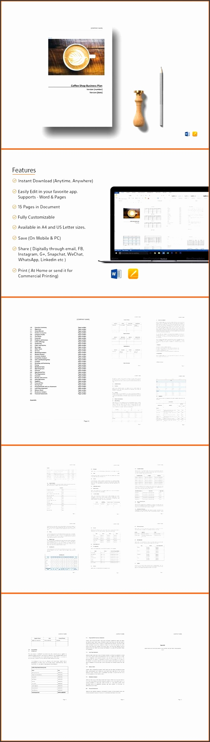 Coffee Shop Business Plan Template $21 Formats Included MS Word Pages File Size