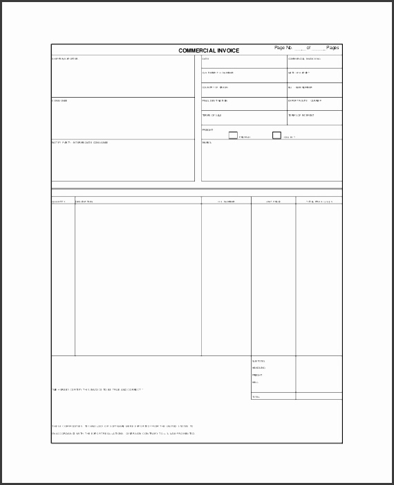 Generic mercial Invoice Template