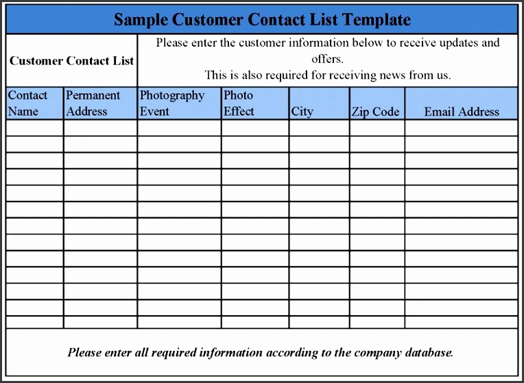 name and email list template business contact list template