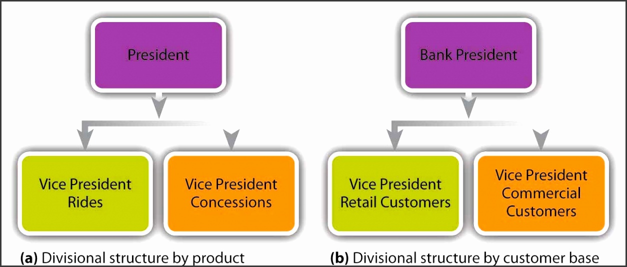 Two simplified org charts e divisional structure by product President who supervises the