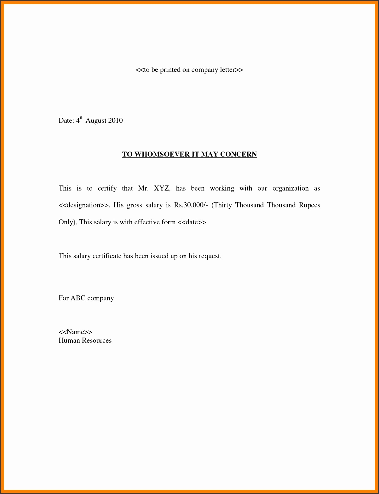Confirmation Salary Letterlary Confirmation Letter Request Certificate Template Employee Salary Certification Letter Sample