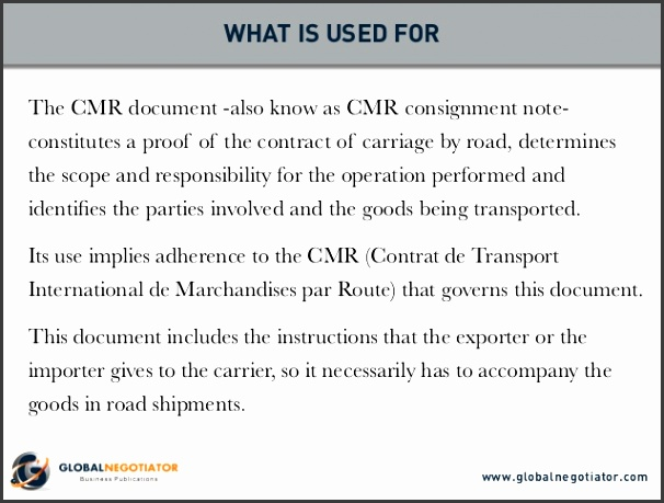 CMR CONSIGNMENT NOTE What is used for Sender and recipient Practical advice Document template 2