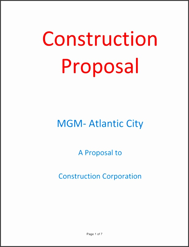 Construction Proposal Sample 1