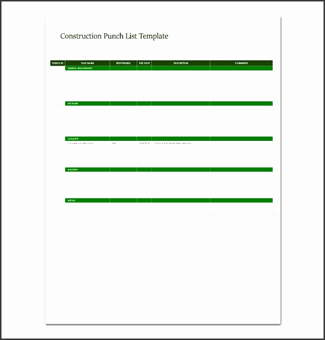 Construction Punch List Template in Excel
