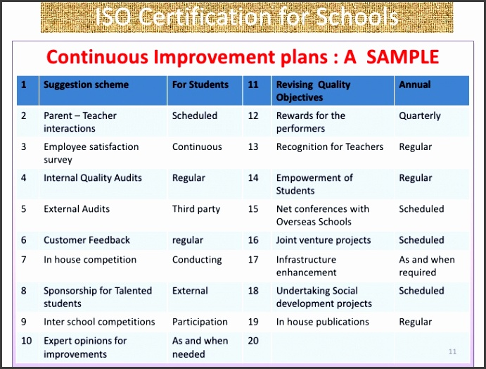 Continuous Improvement Plan Sample