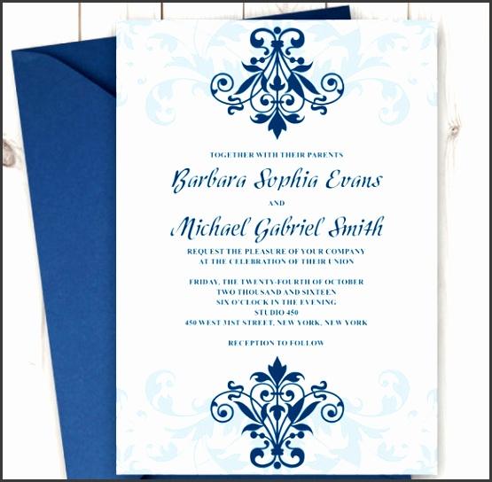 Printable Wedding Invitation Elegant Ironwork with Ornaments in Navy Blue