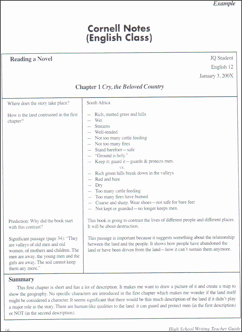 Cornell Note Example English 3