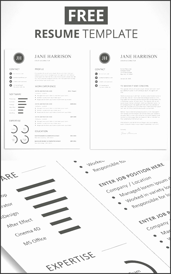Free Minimalistic CV Resume Templates with Cover Letter Template 5