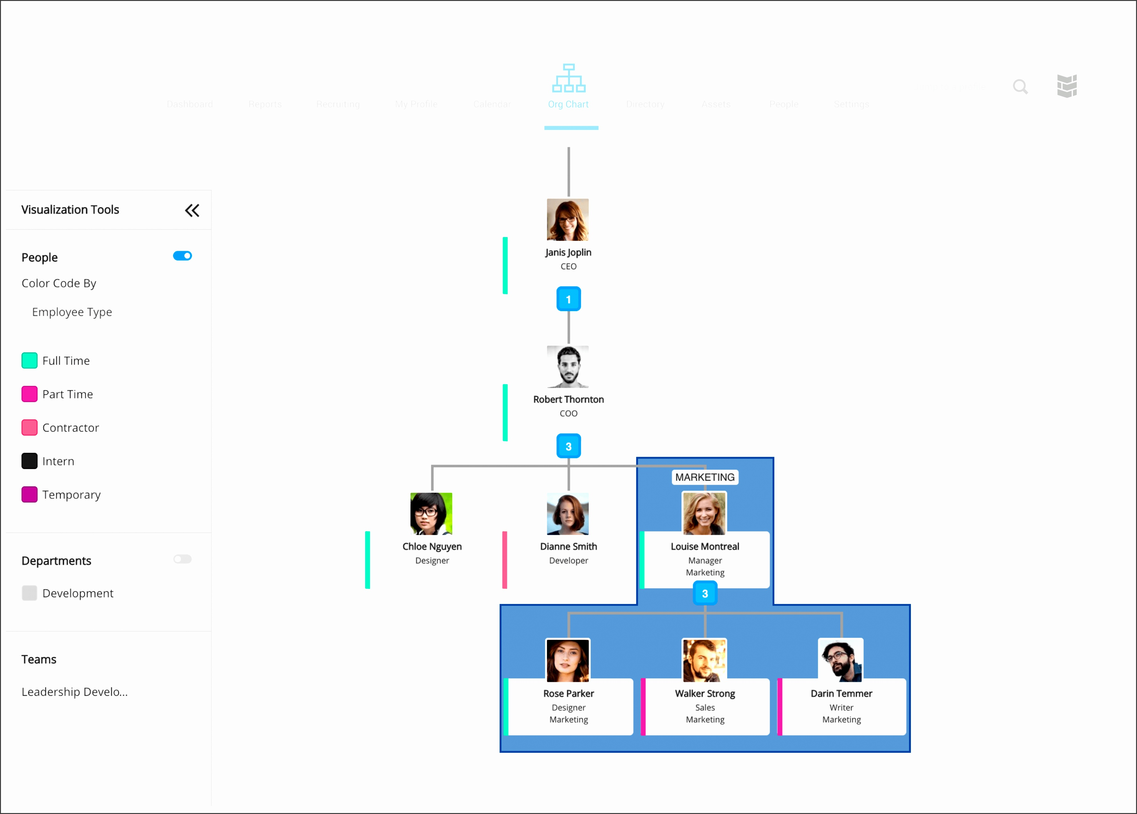 Build format and display org charts with our intuitive organization charts software