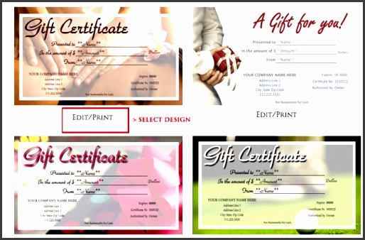 DESIGN and print your GIFT CERTIFICates in 3 easy steps
