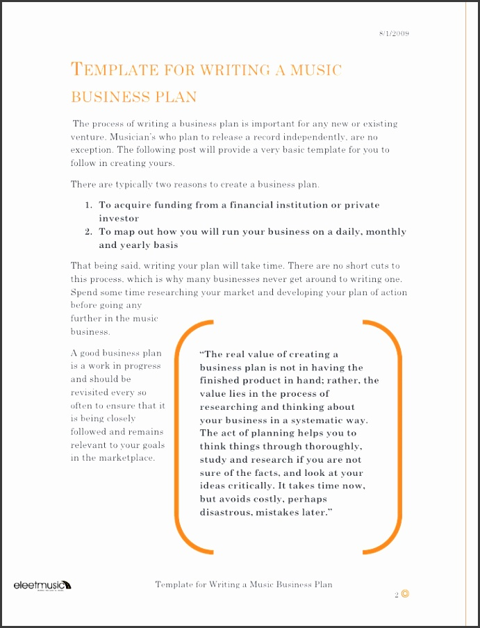 Template for Writing a Music Business Plan 1 3