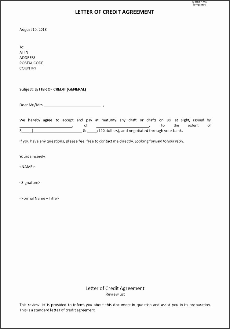 Letter of Credit Agreement main image Get template