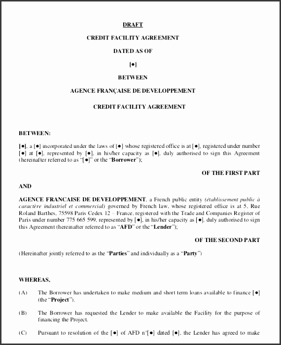 credit agreement template 9 facility agreement templates free sample example format free