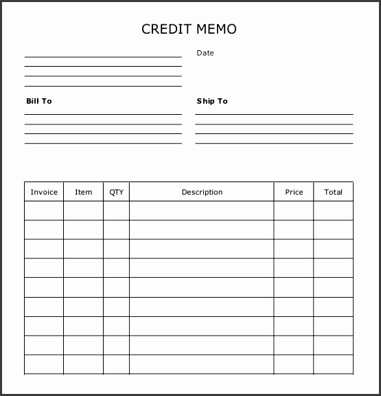 Sample Example Format Credit Memo Download