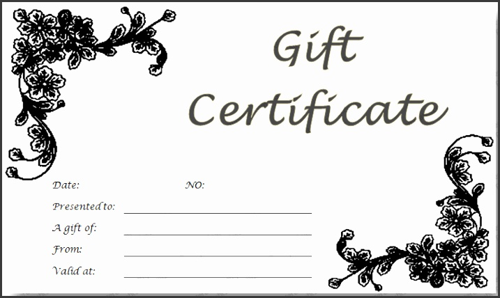 Black Glades Gift Certificate Template