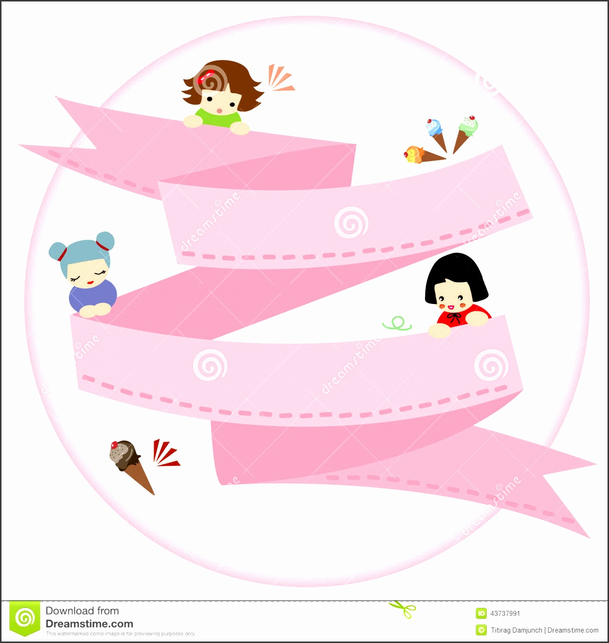 Stock Illustration Banner Label Badge Templates Cute Girl Kids Ice Cre