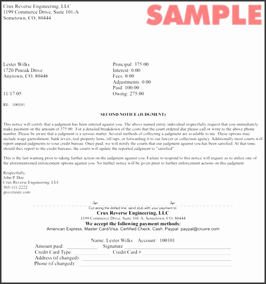 template for collection letter