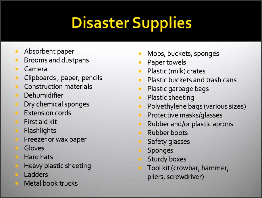 here for a list of disaster preparedness supplies
