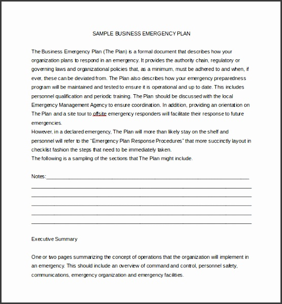 Sample Business Emergency Plan Word Template Free Download