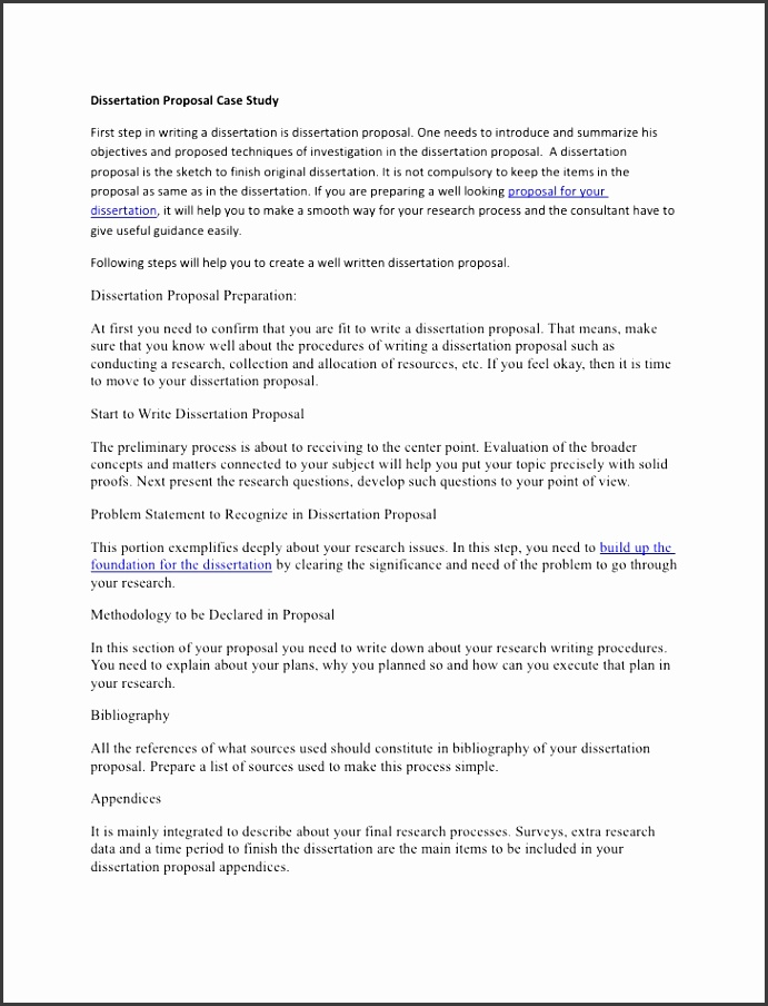 Dissertation Proposal Case Study First step in writing a dissertation is dissertation proposal