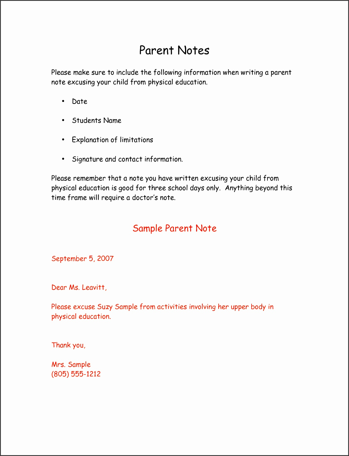 School Excuse Doctors Note Template