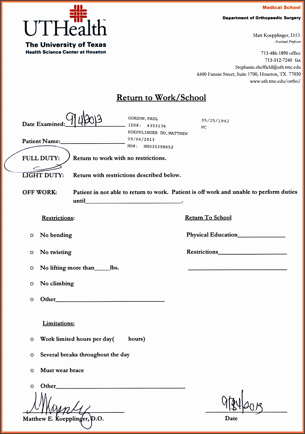 urgent care doctors note template blank doctors note