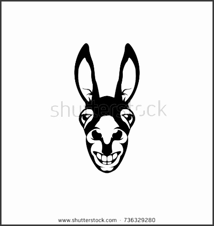 Vector donkey head face for retro hipster logos emblems badges labels template