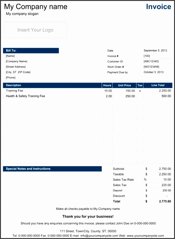 Service Invoice with Hourly Rate and Optional Tax