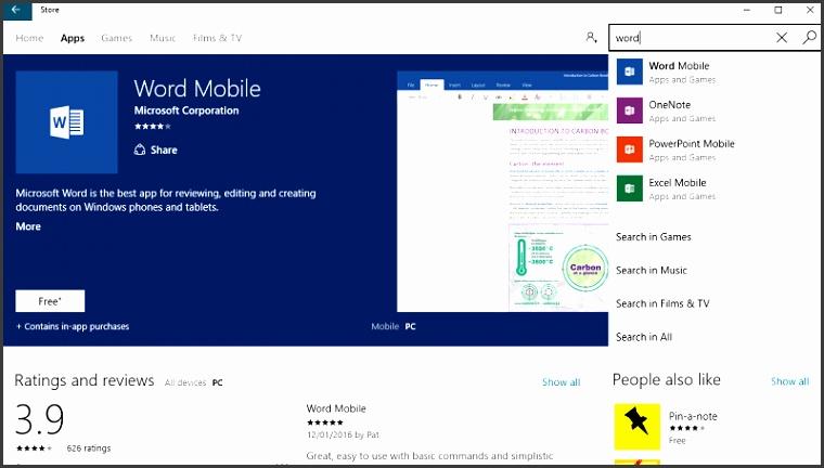 fice Mobile Windows store